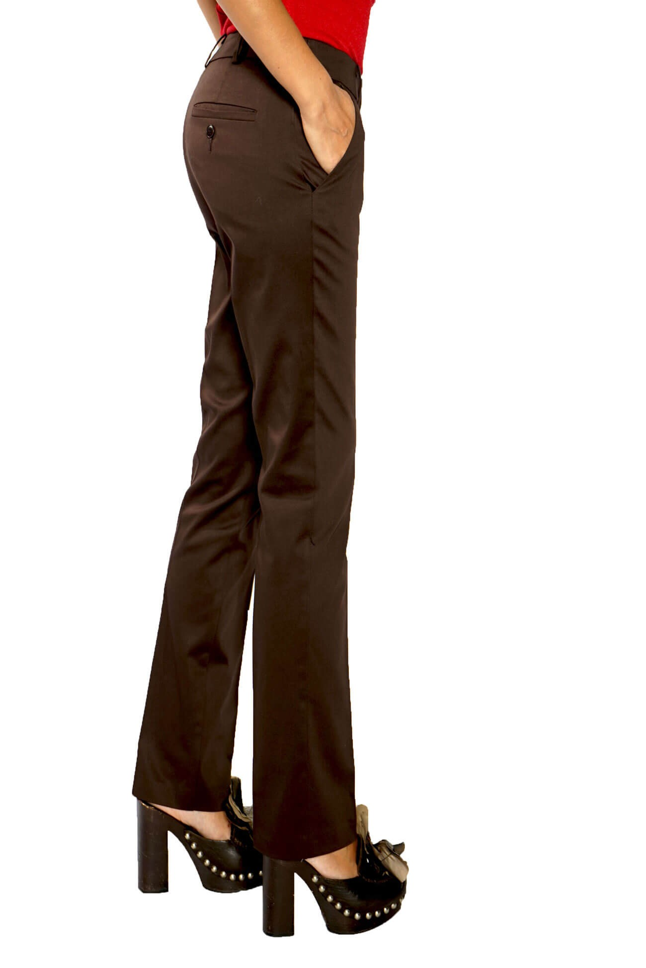 pantalon din bumbac tip creion maron