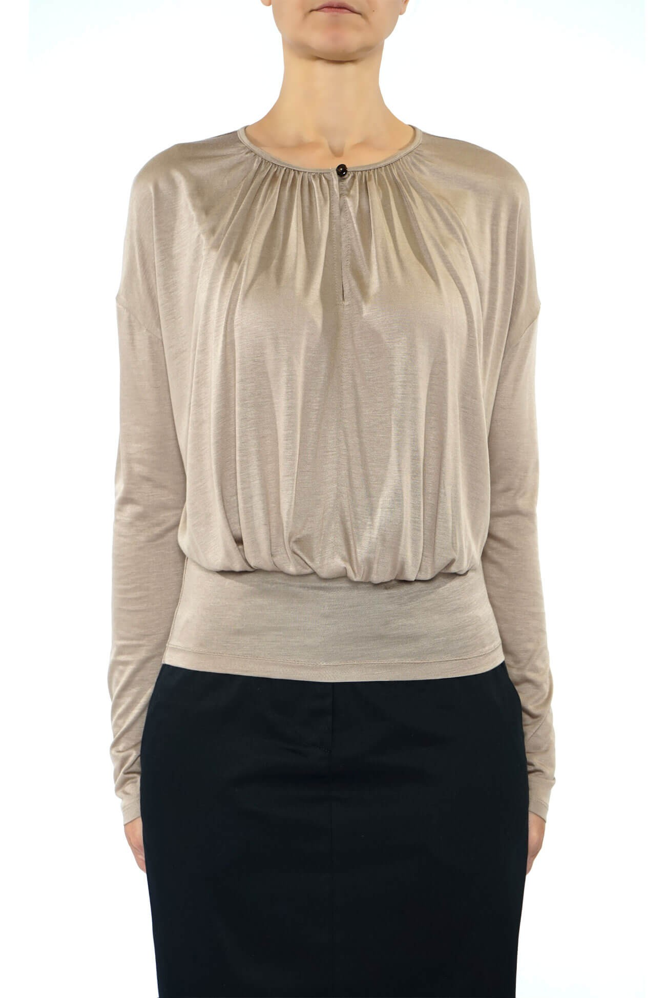 bluza din vascoza cu pliuri pe bust