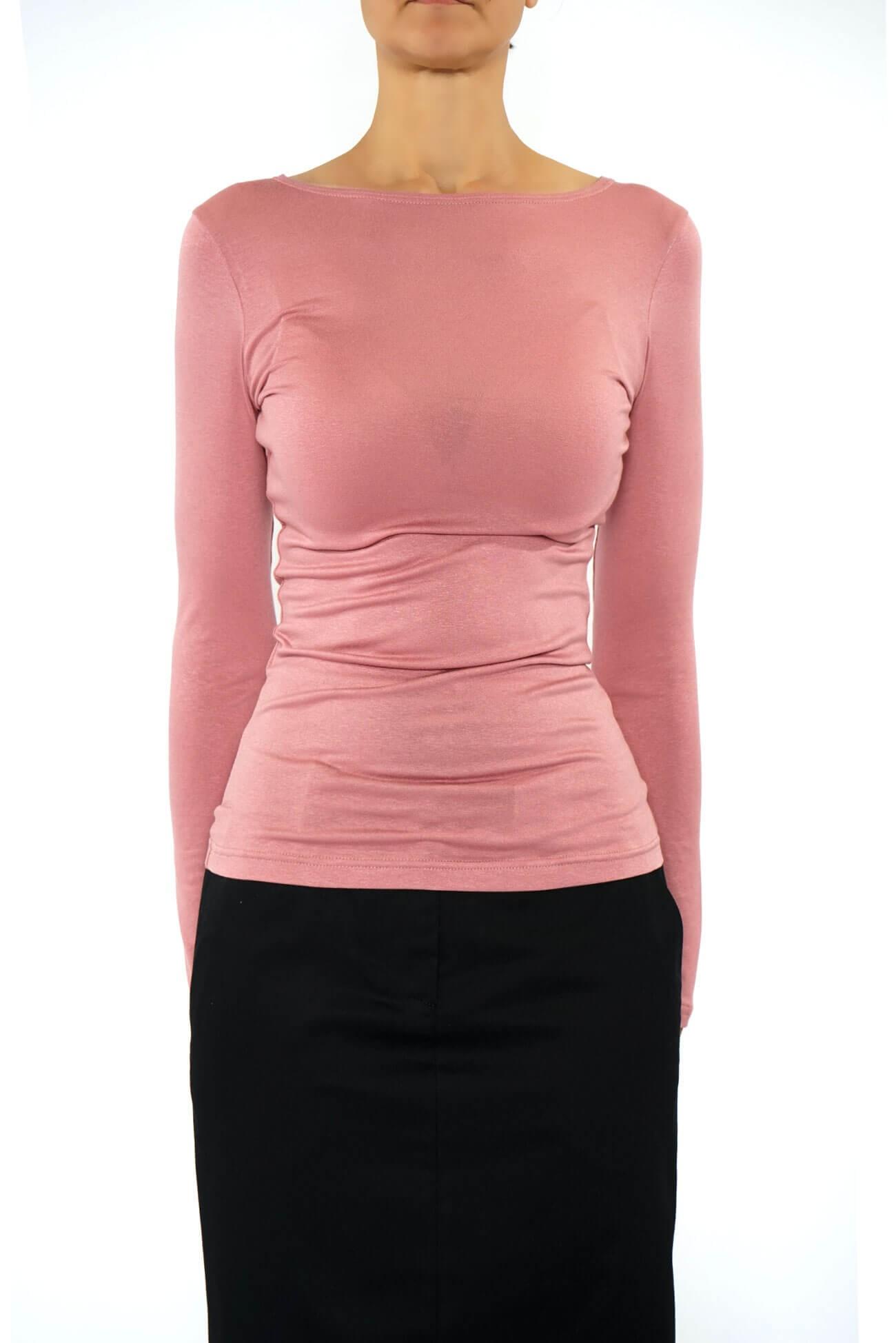 bluza din vascoza roz cu maneca lunga