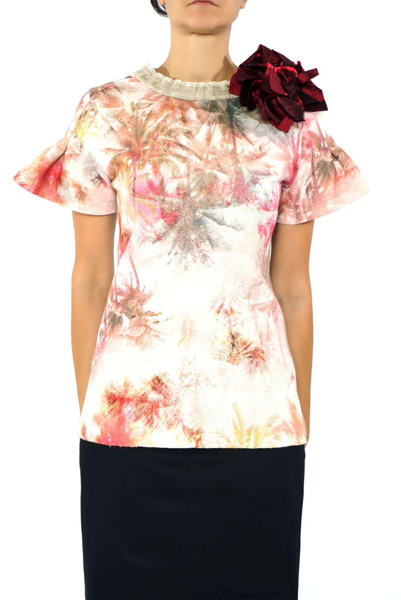 bluza din bumbac  imprimata cu maneci clopot