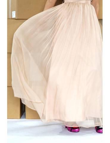 rochie maxi din matase si dantela