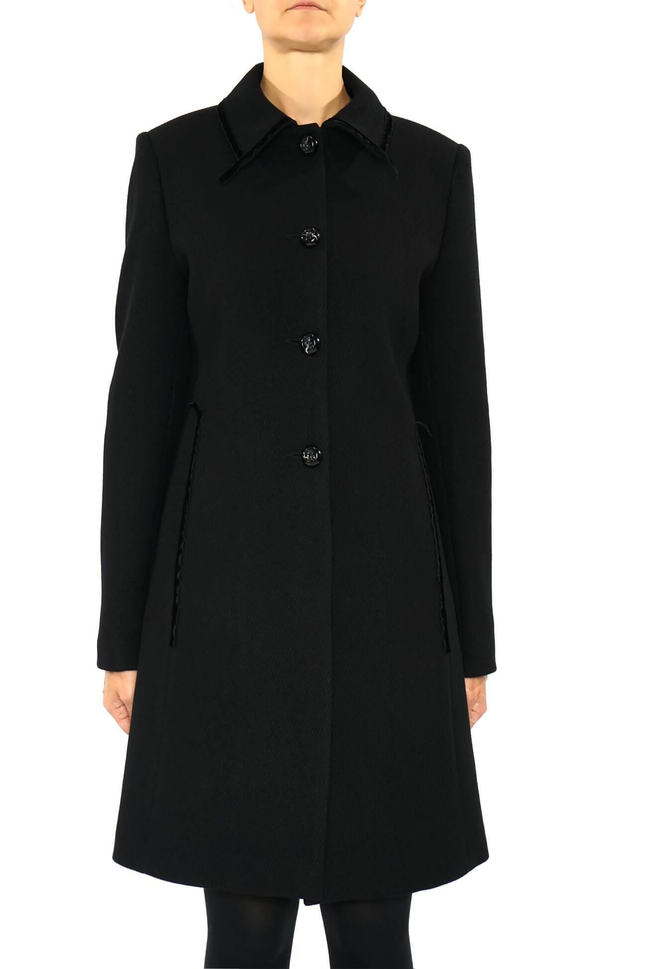 palton  din lana drept cu bentita de catifea