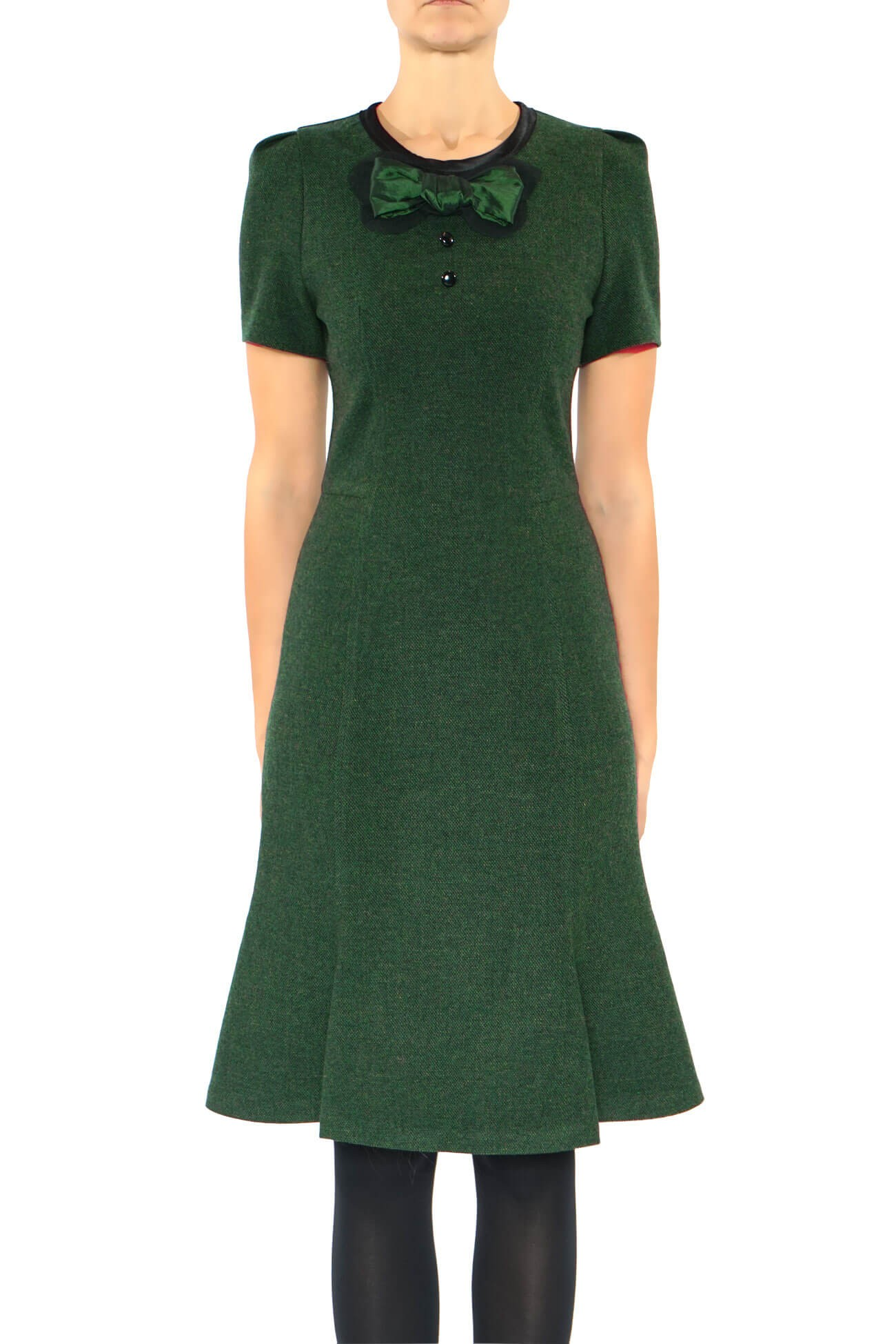 rochie din lana cu funda pe bust