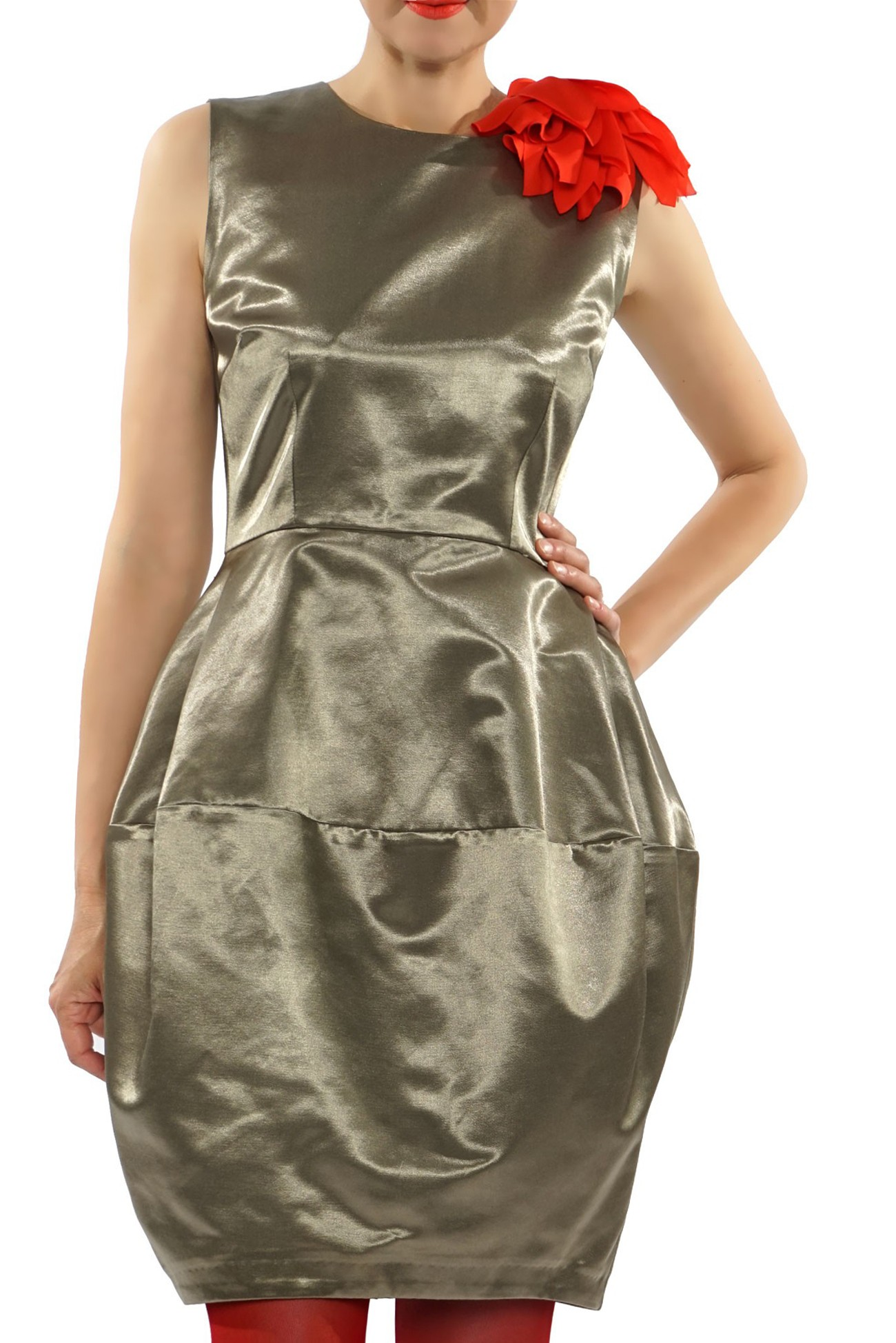 Olive dress with accessory