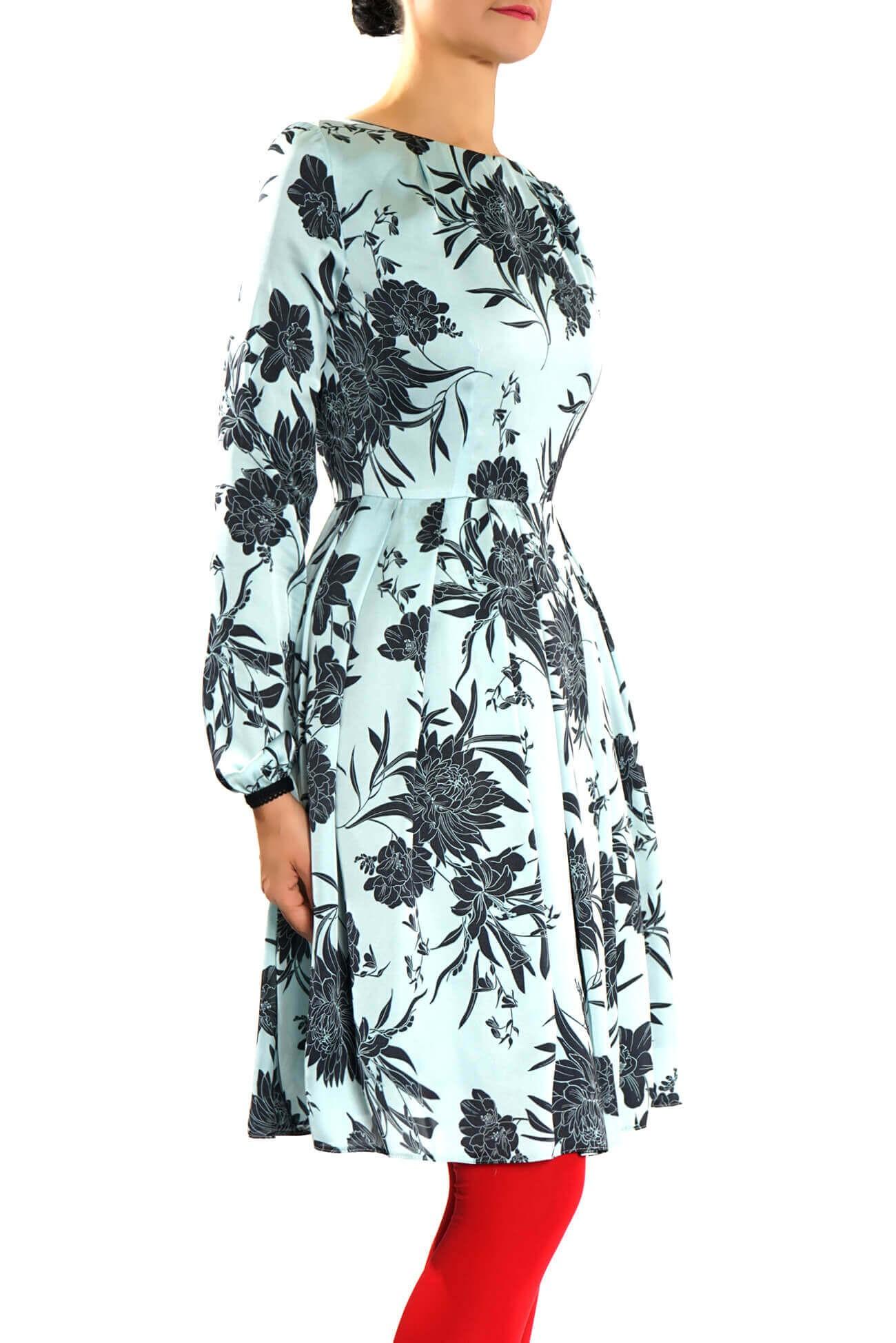 Rochie  midi  din satin imprimat cu pliuri in talie