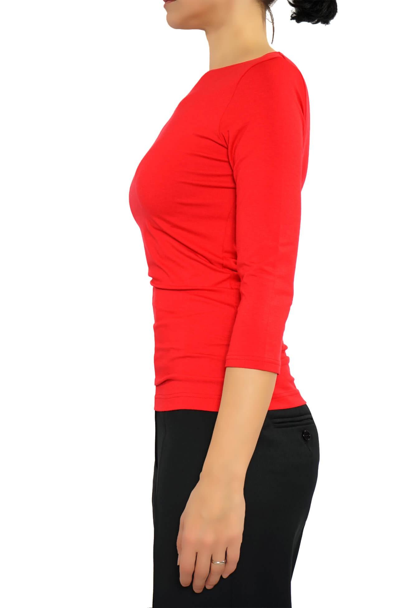 bluza cu decolteu barcuta, maneca 3/4, din vascoza rosie