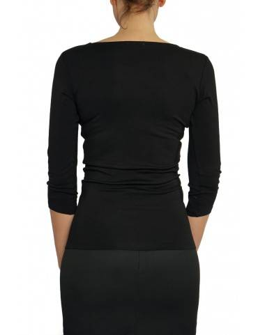 bluza cu decolteu barcuta, maneca 3/4, din vascoza neagra