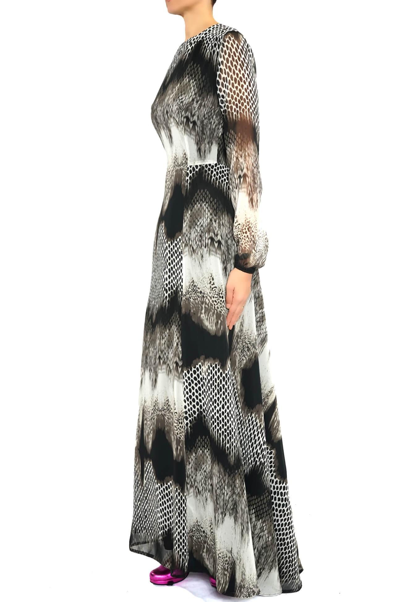 rochie maxi din voal cu maneca lunga