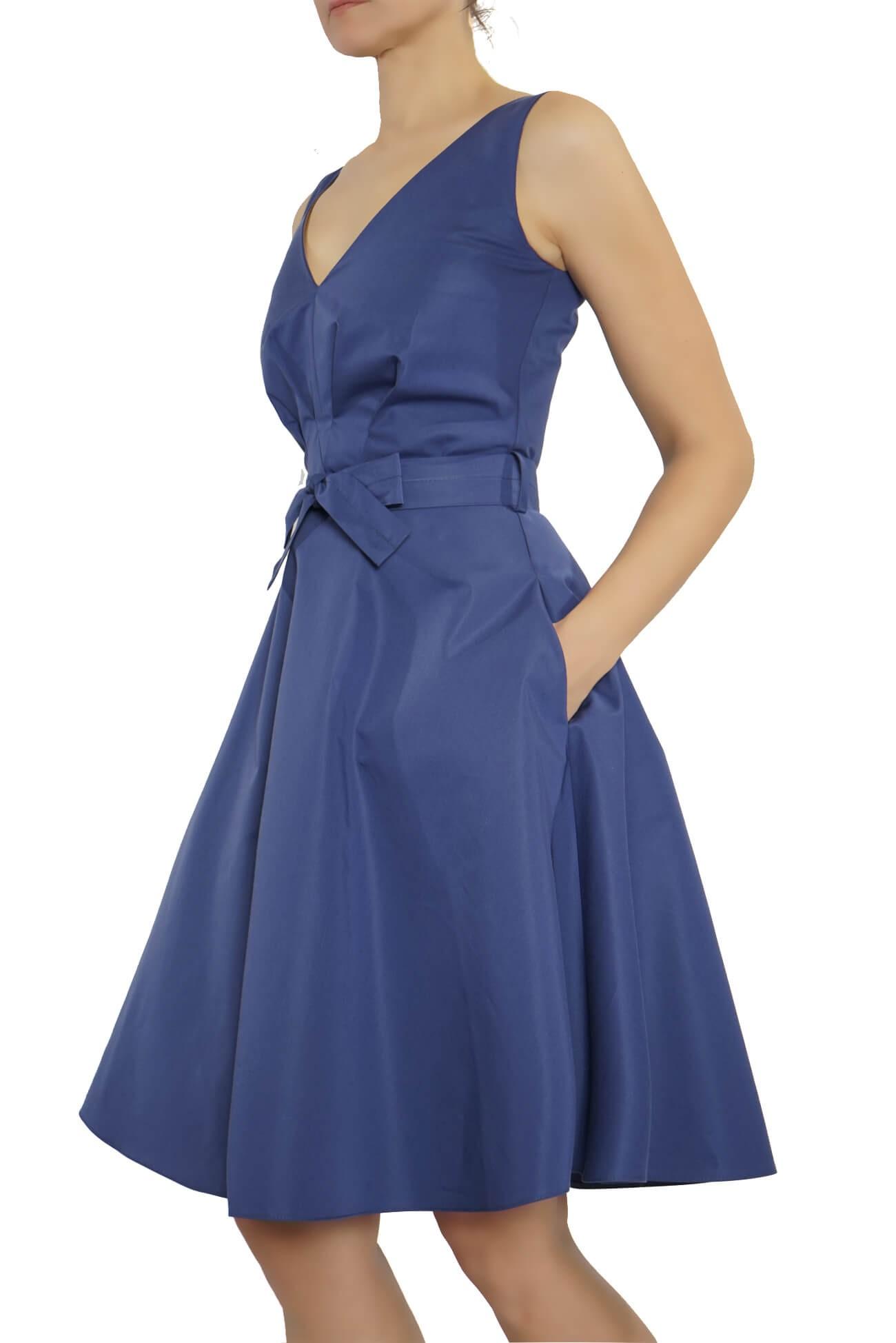 rochie cu pliuri pe bust din bumbac   (  produs la precomanda  )