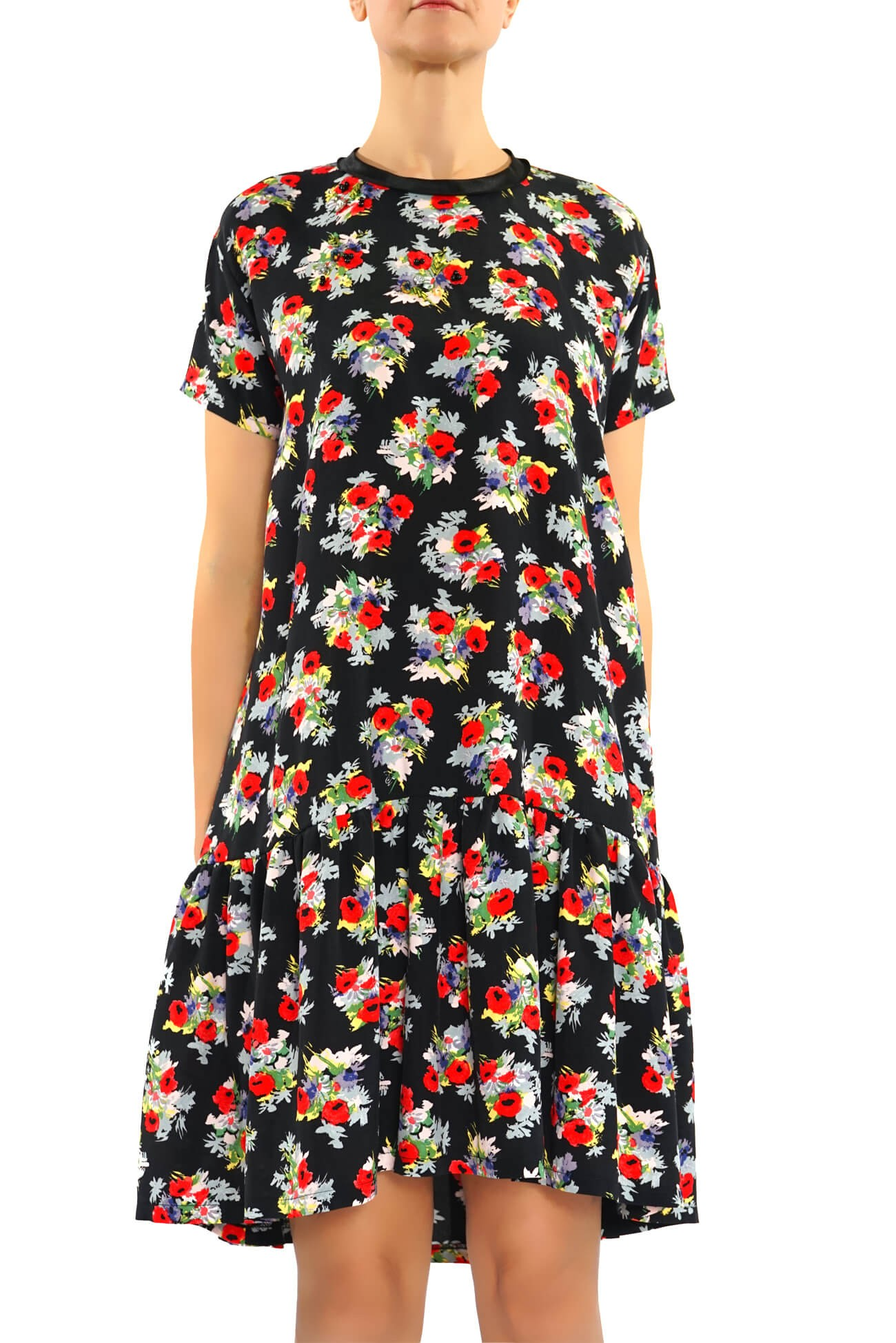 rochie larga cu volan din vascoza imrimata  (  produs la precomanda  )