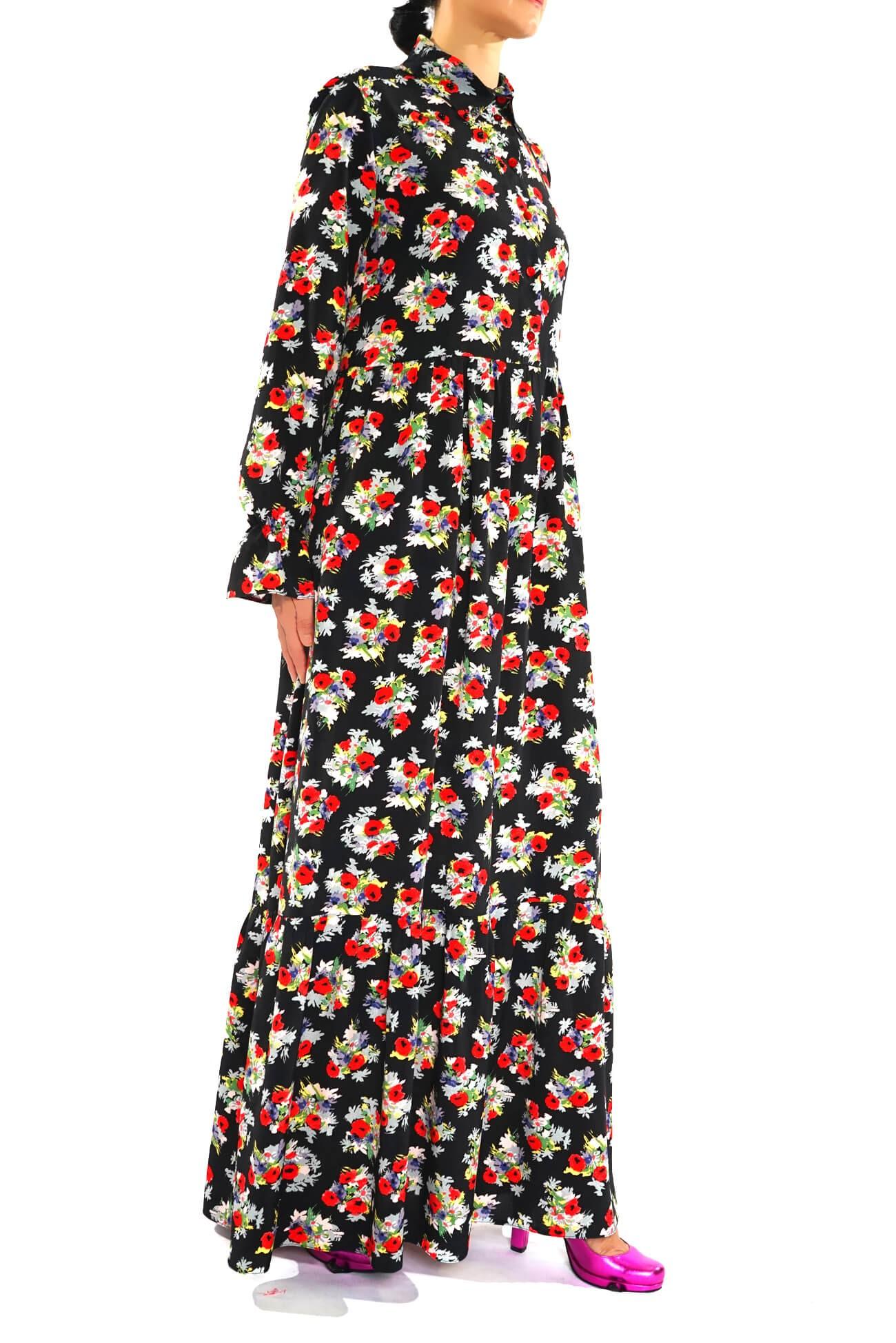 rochie maxi din vascoza imprimata  (  produs la precomanda  )