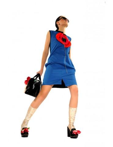 rochie din bumbac cu mac supradimensionat  (  produs la precomanda  )