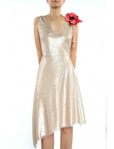 rochie asimetrica din paiete  (  produs la precomanda  )