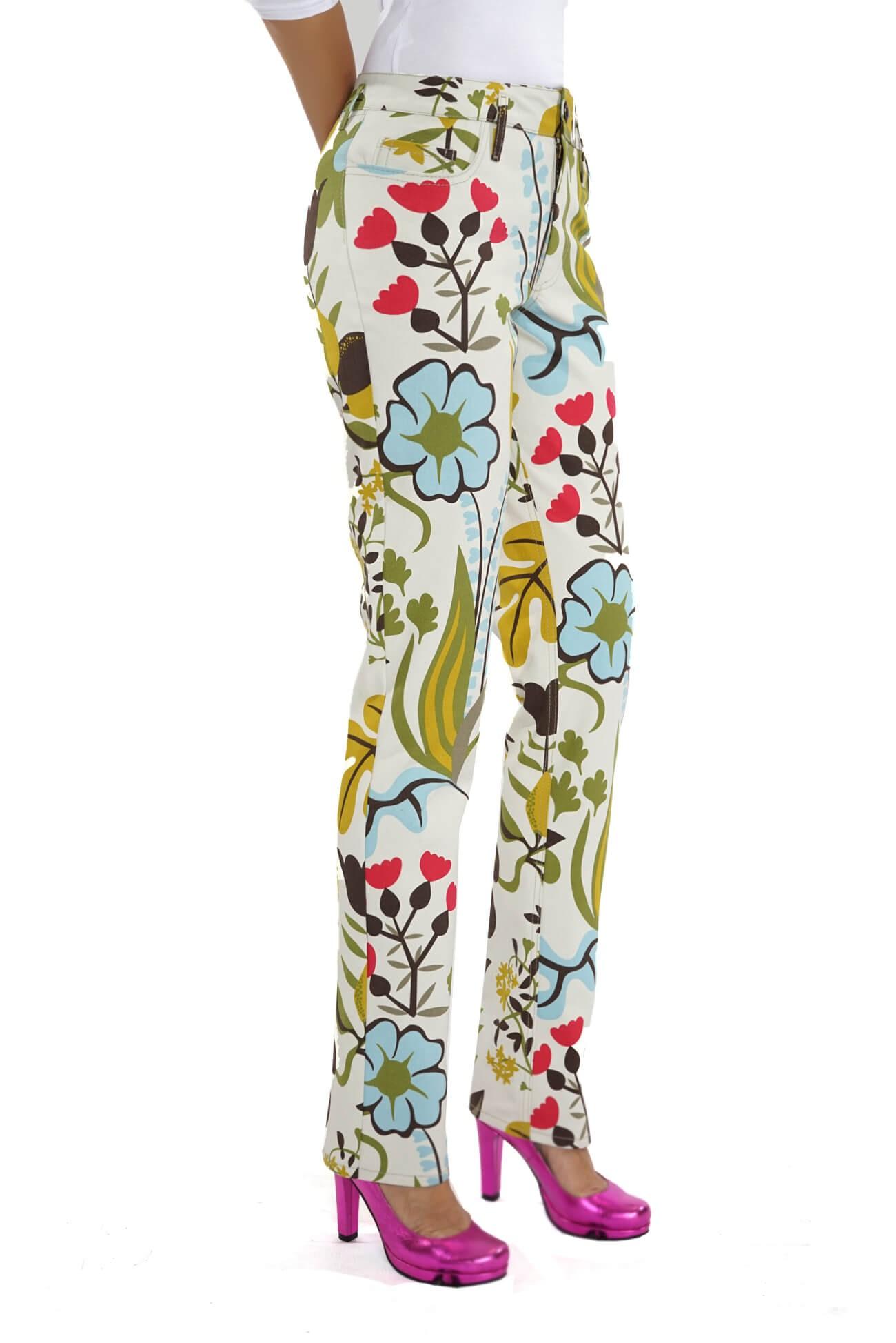 pantalon din canvas de bumbac imprimat  (  produs la precomanda  )
