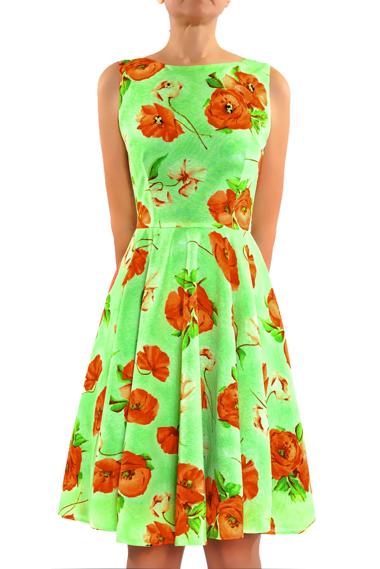 rochie clos  din tul imprimat  (  produs la precomanda  )