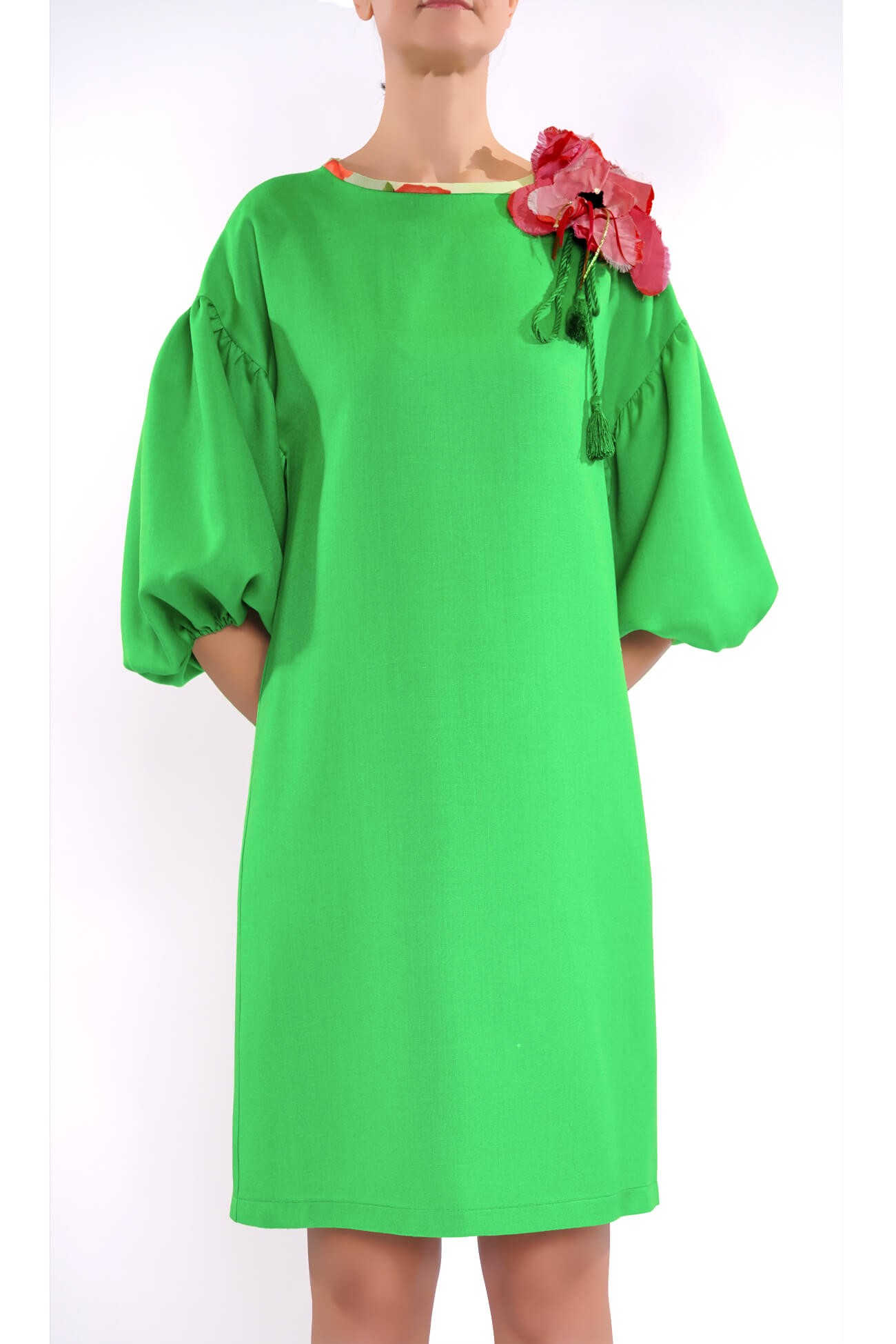 rochie dreapta din vascoza cu brosa floare  (  produs la precomanda  )