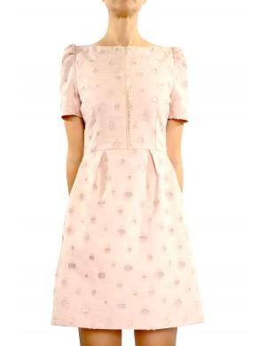 rochie din brocard cu pliuri in talie