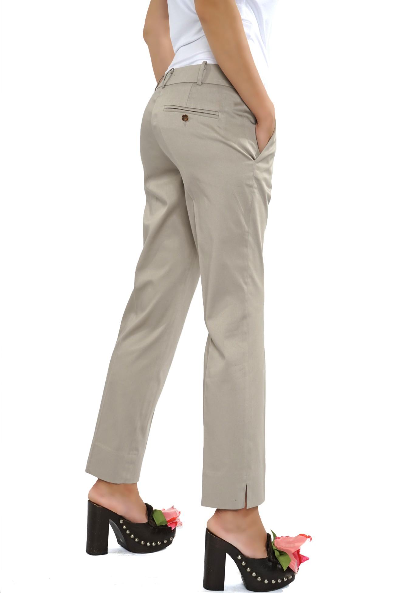 pantalon pepit drept din bumbac