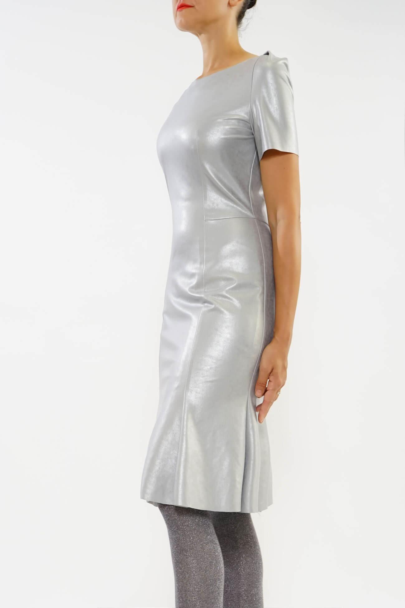rochie cu clini  din piele ecologica