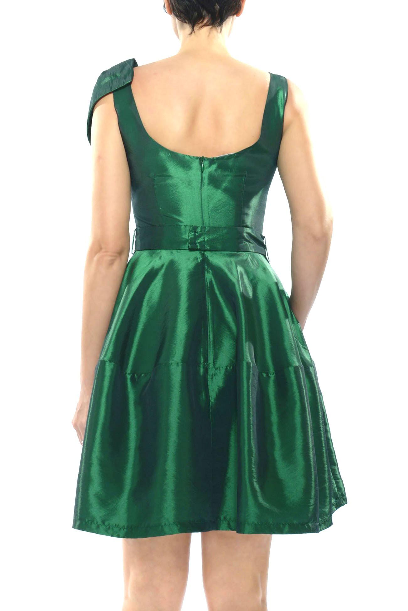 rochie din tafta cu funda pe umar