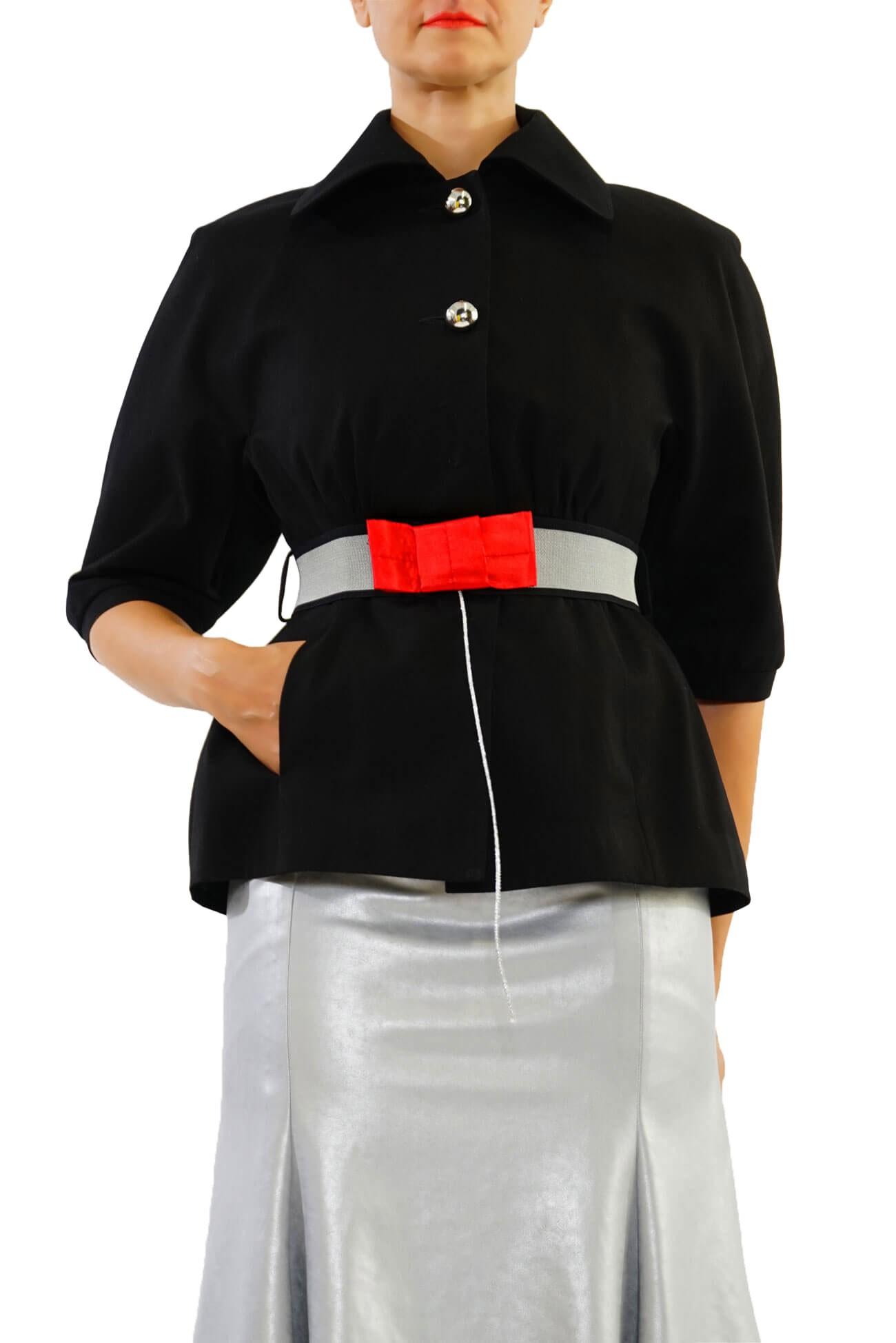 geaca chimono din bumbac cu funda pe curea