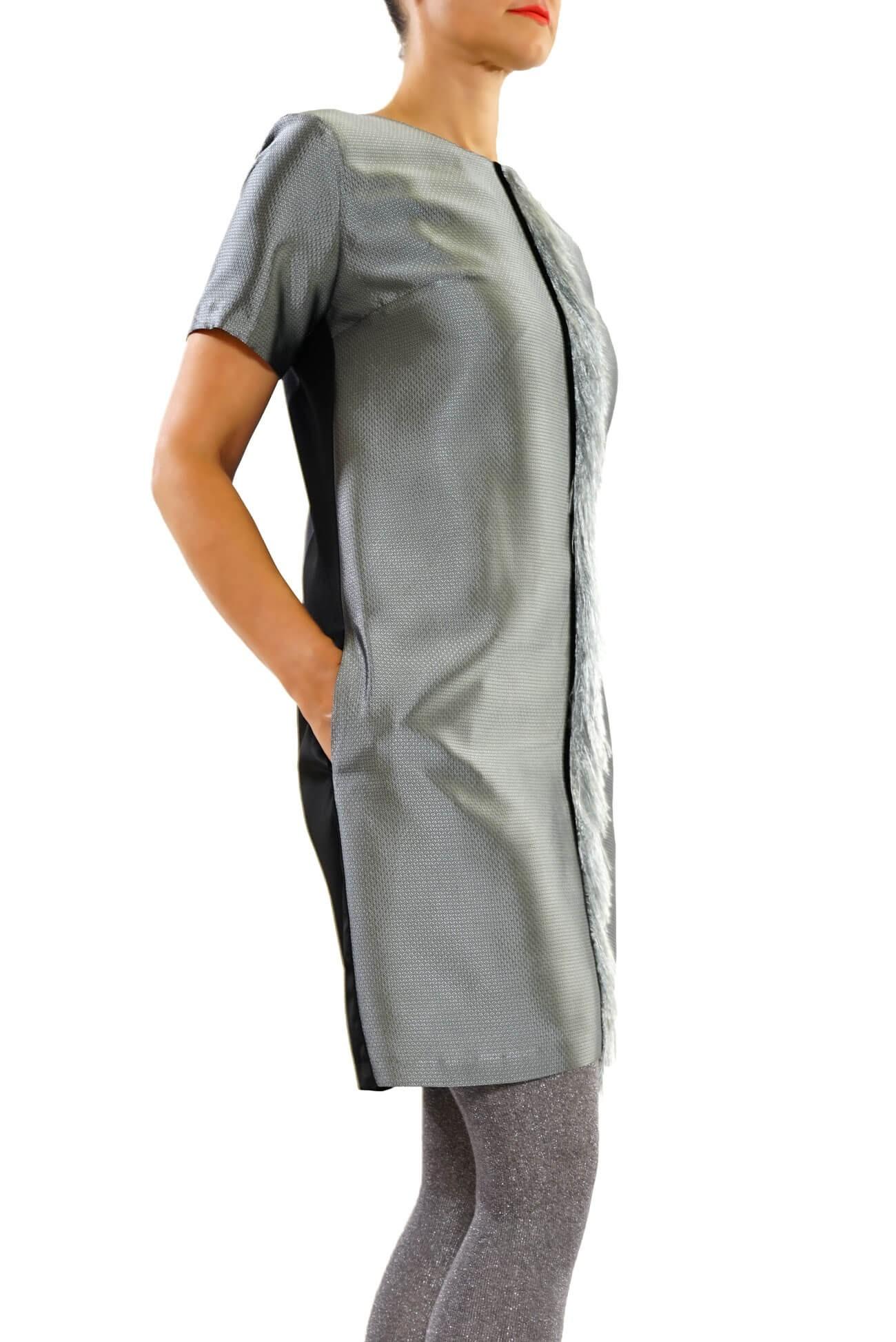 rochie dreapta cu franjuri (  produs la precomanda  )