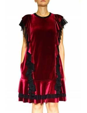 Rochie catifea rosie  cu volane