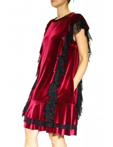 Rochie catifea rosie  cu volane(  produs la precomanda  )