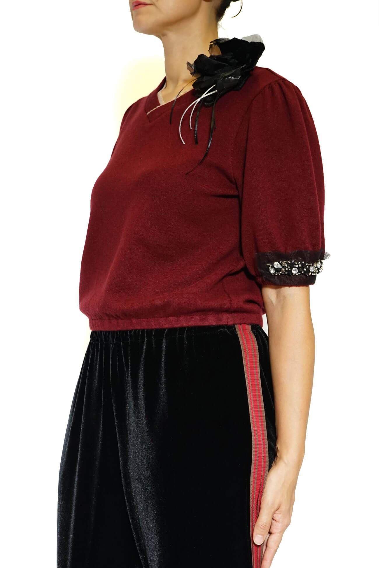 pulover grena cu anchior si aplicatii pe maneca(  produs la precomanda  )