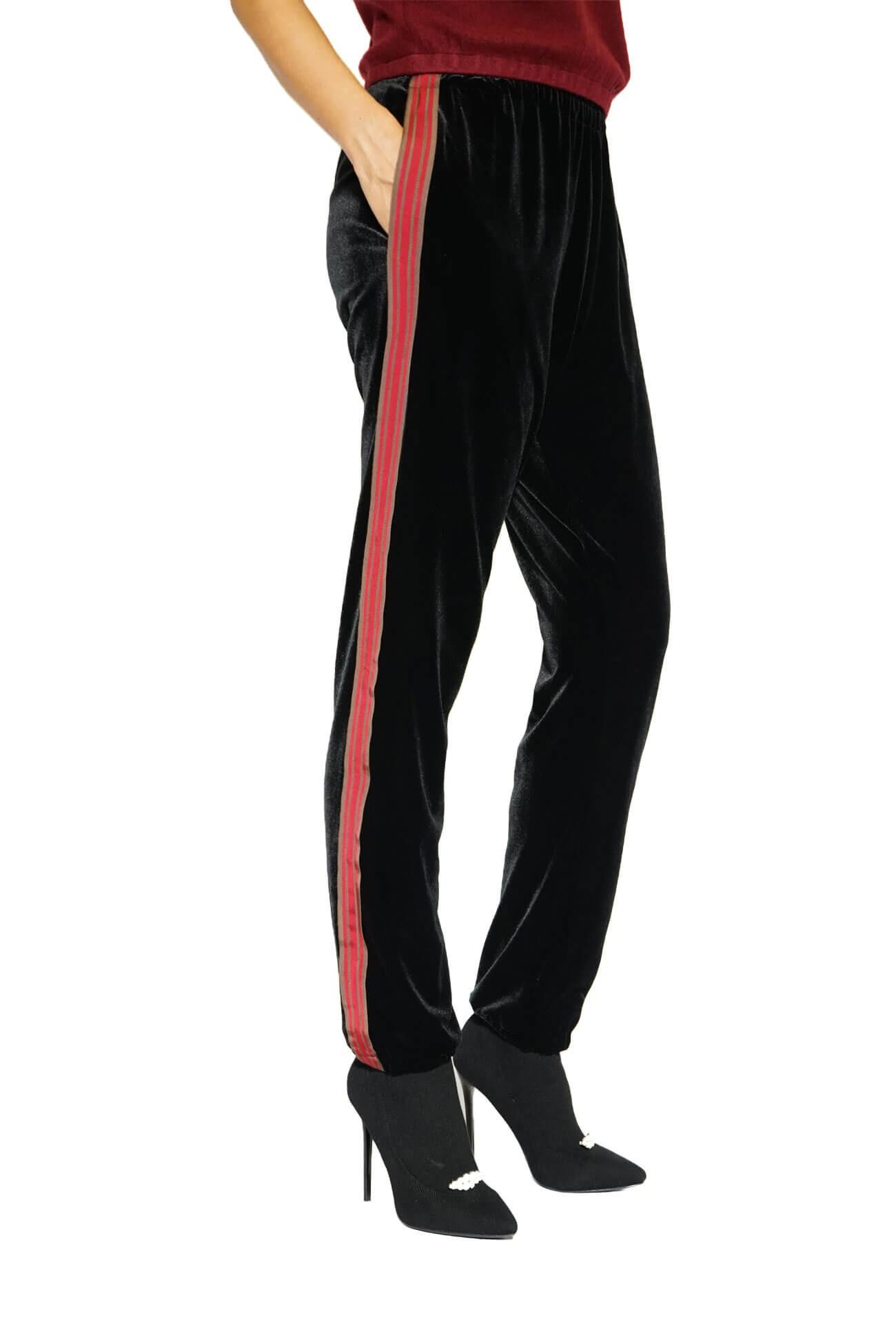 pantalon lejer din catifea cu bentite pe lateral
