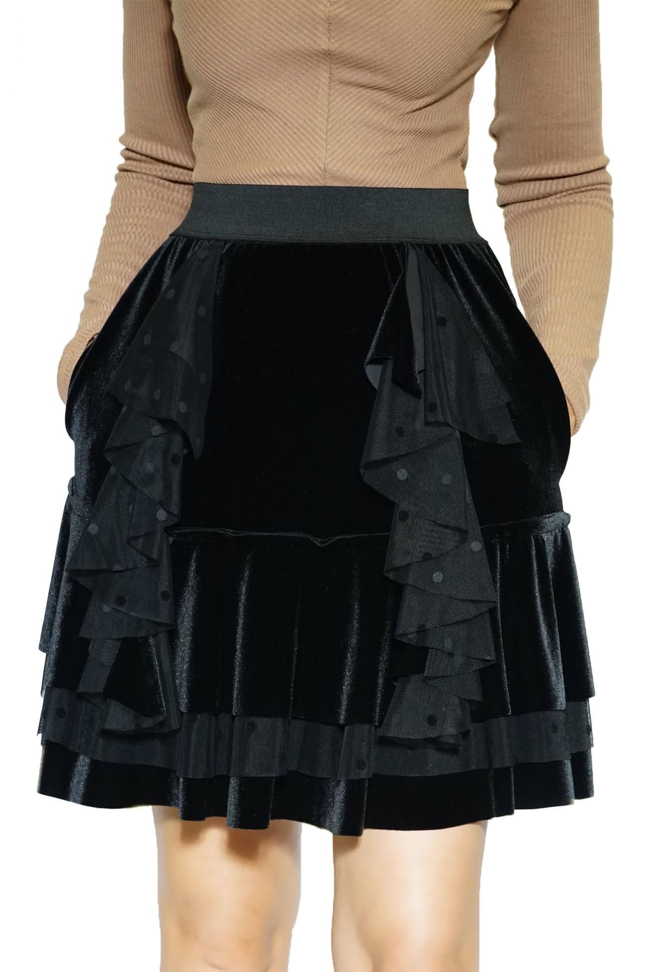 fusta neagra scurta din catifea cu volane(  produs la precomanda  )