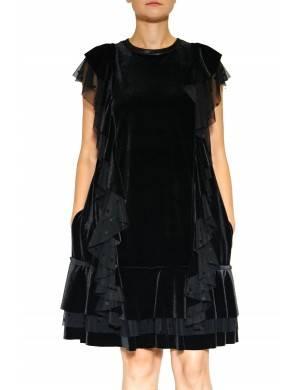 Rochie catifea neagra  cu volane