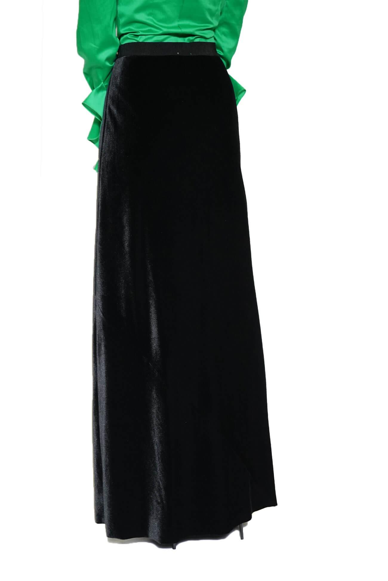 Fusta lunga pe bie neagra din catifea Ref  651958-19-36