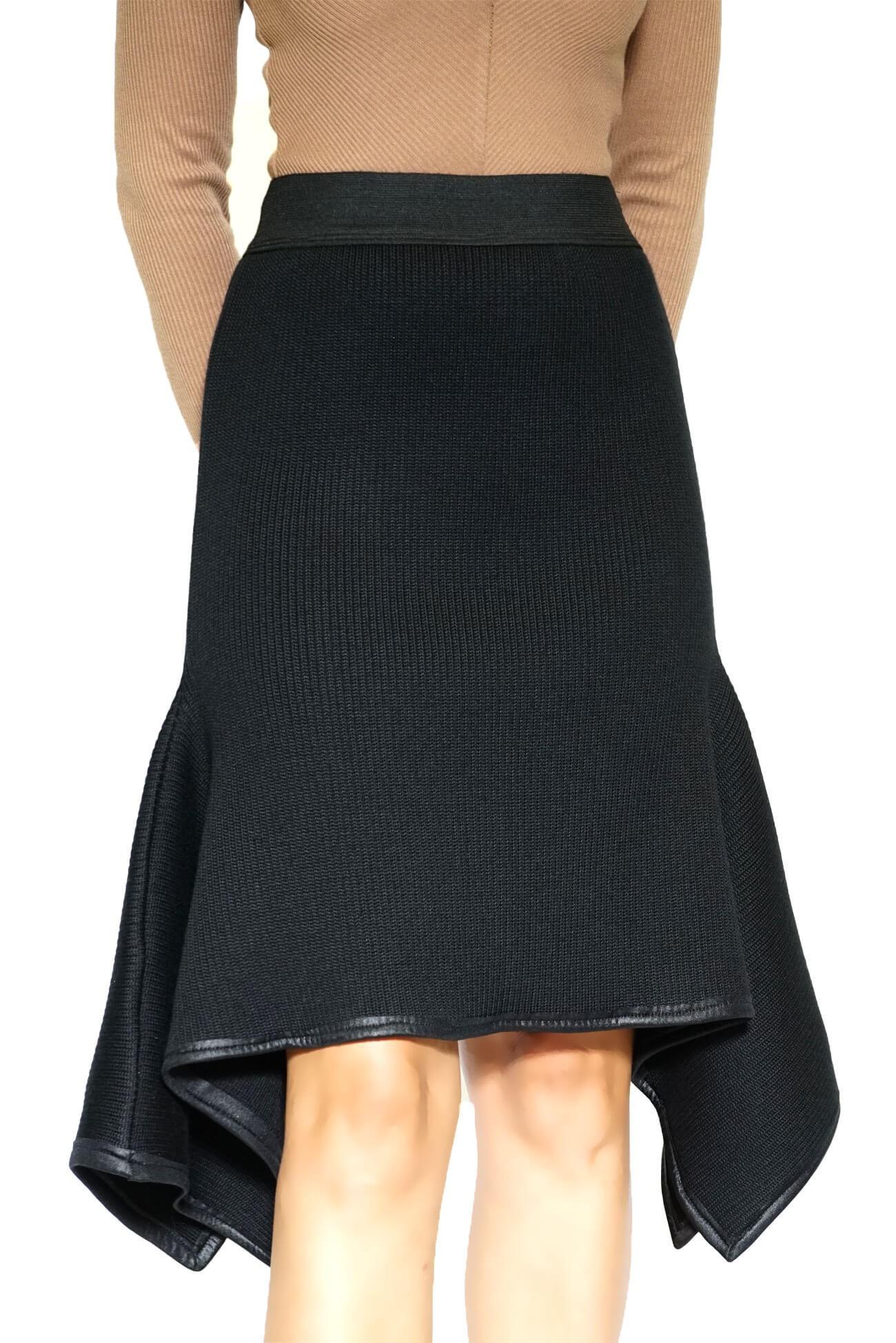 fusta neagra din tricot cu colturi(  produs la precomanda  )