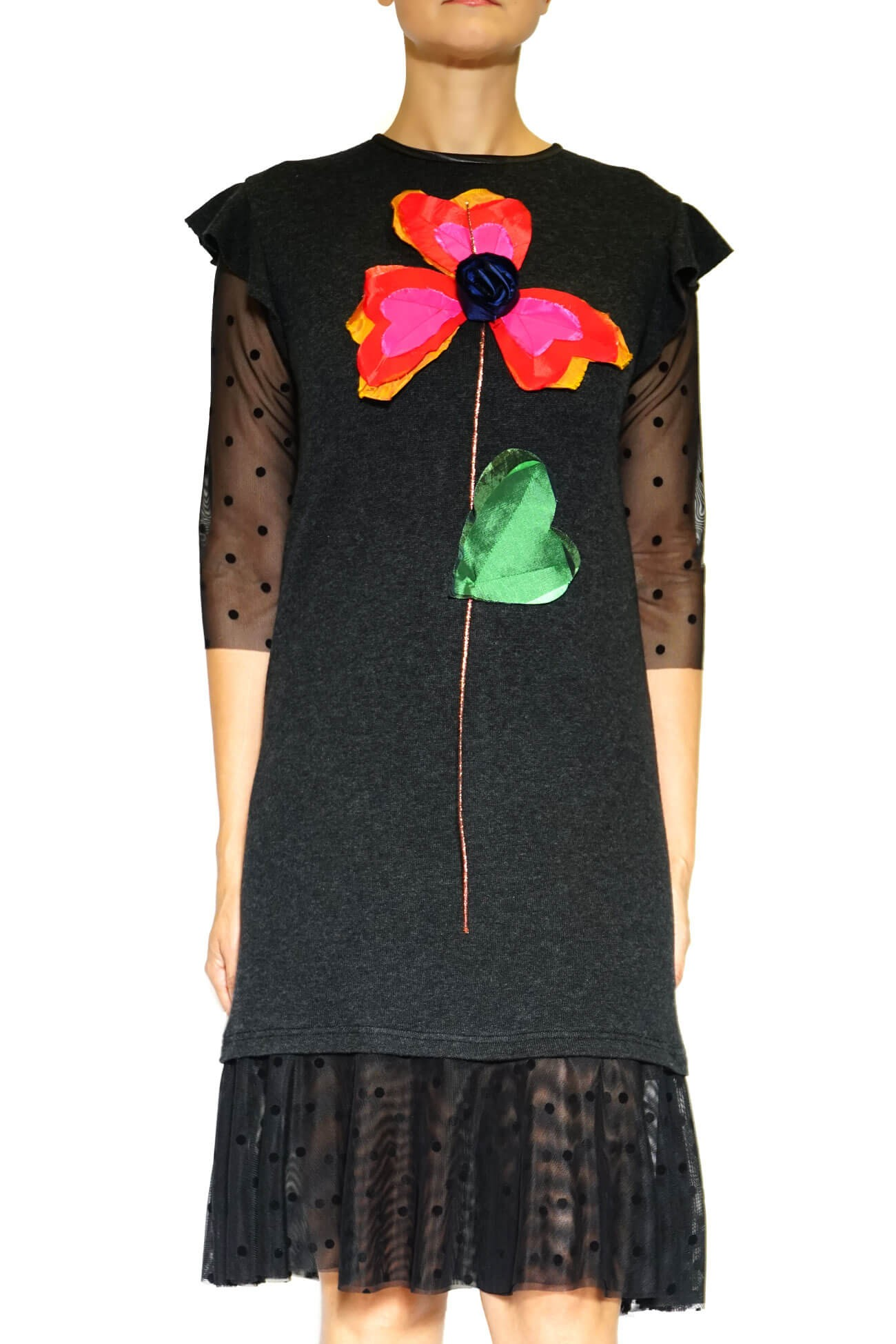 Rochie dreapta din tricot  cu floare mare(  produs la precomanda  )