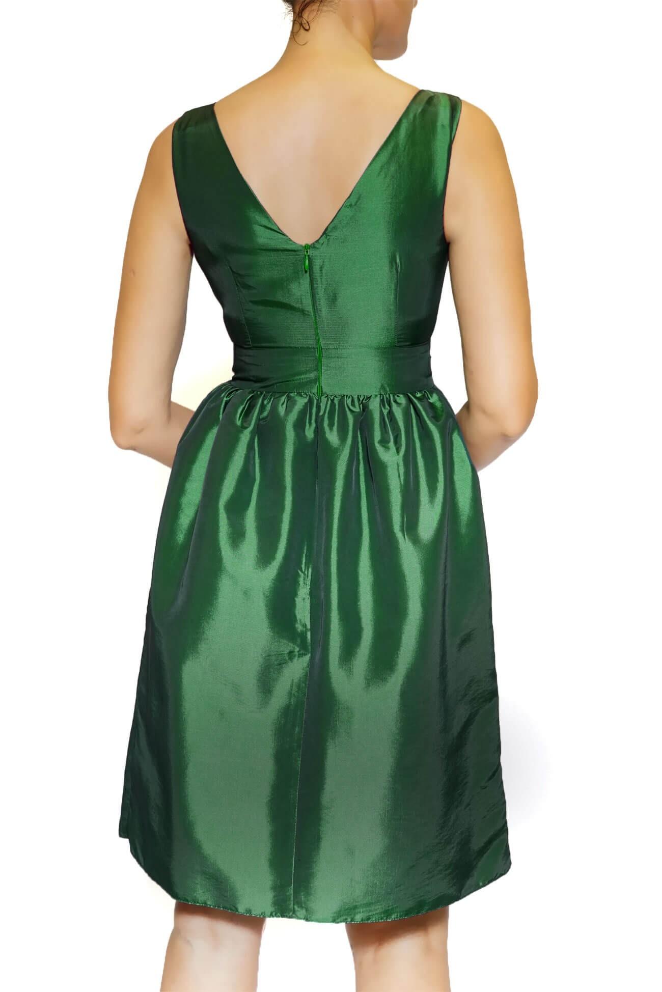 Rochie verde din tafta cu funda in talie