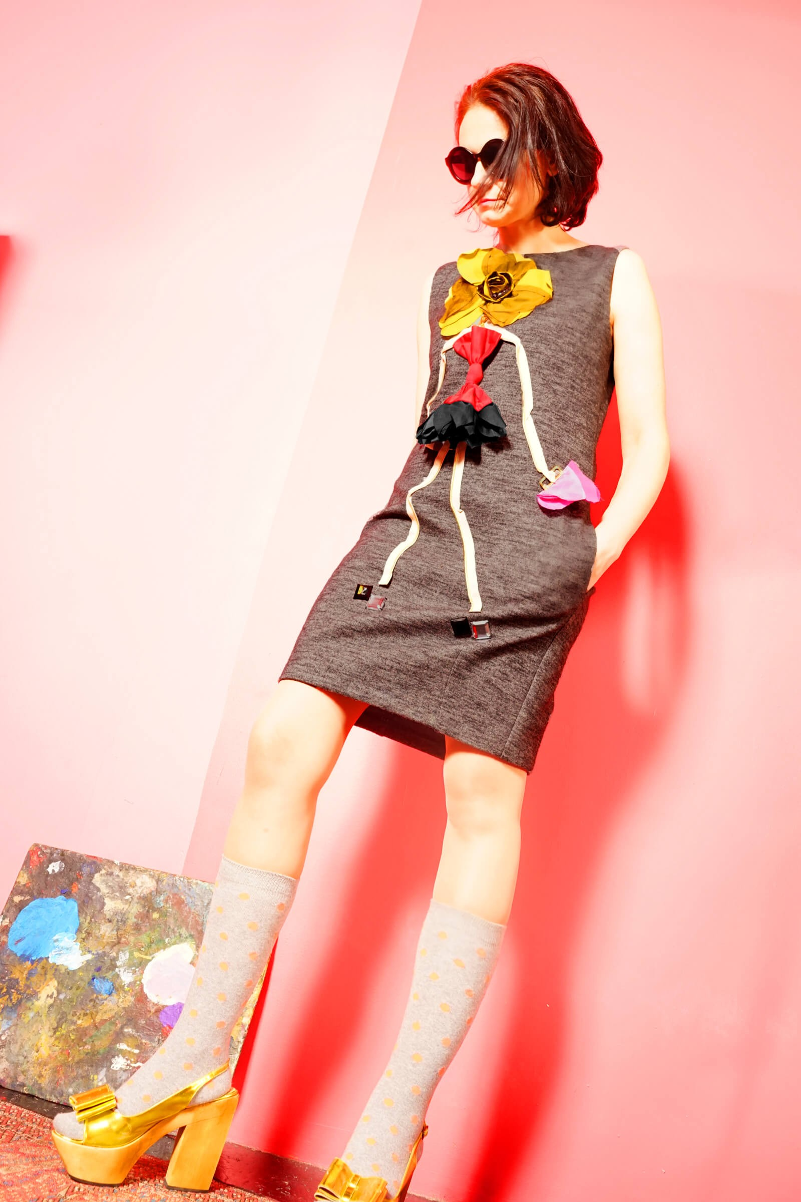 Rochie lalea gri din lana cu aplicatie fetita