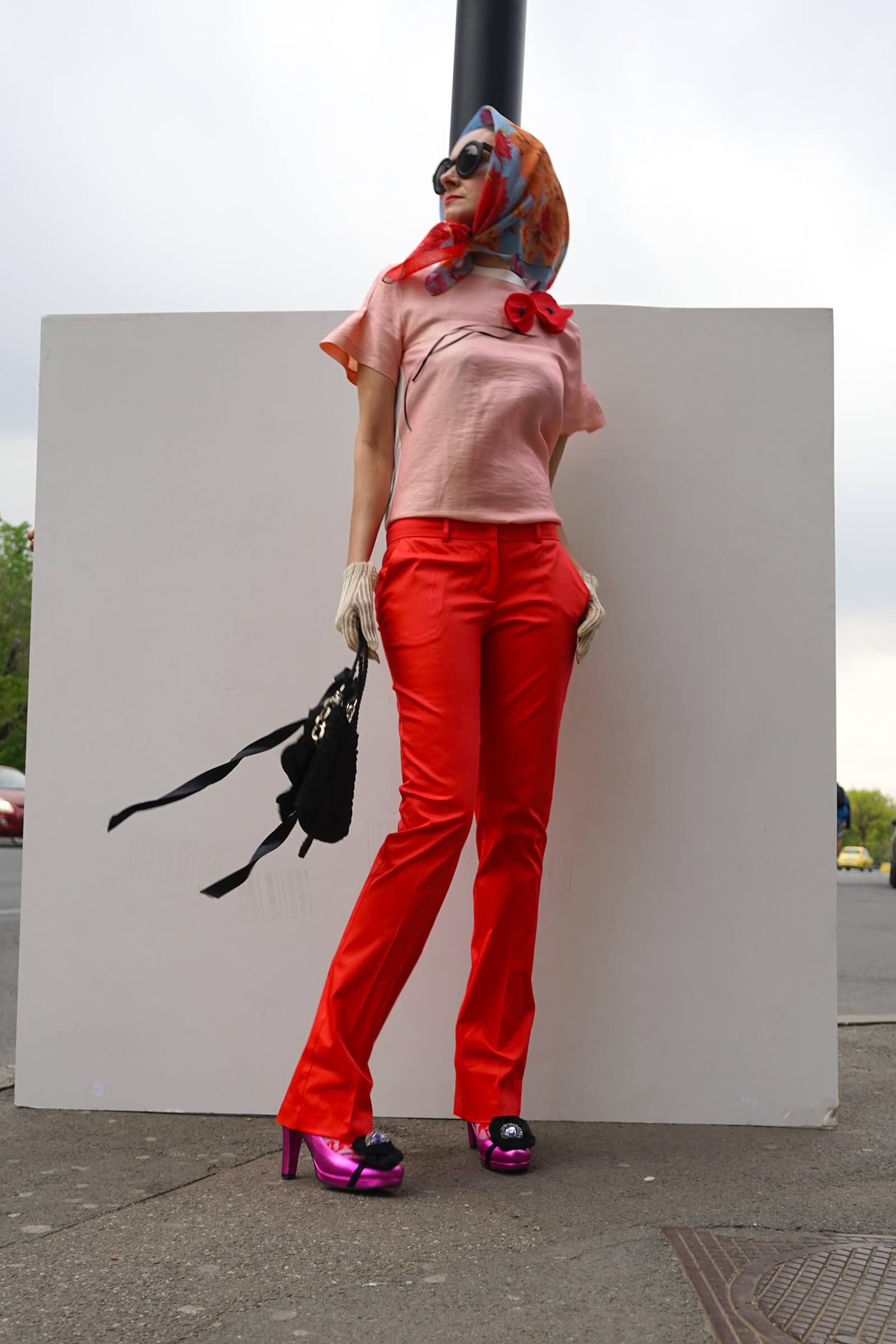Pantalon din bumbac rosu lung