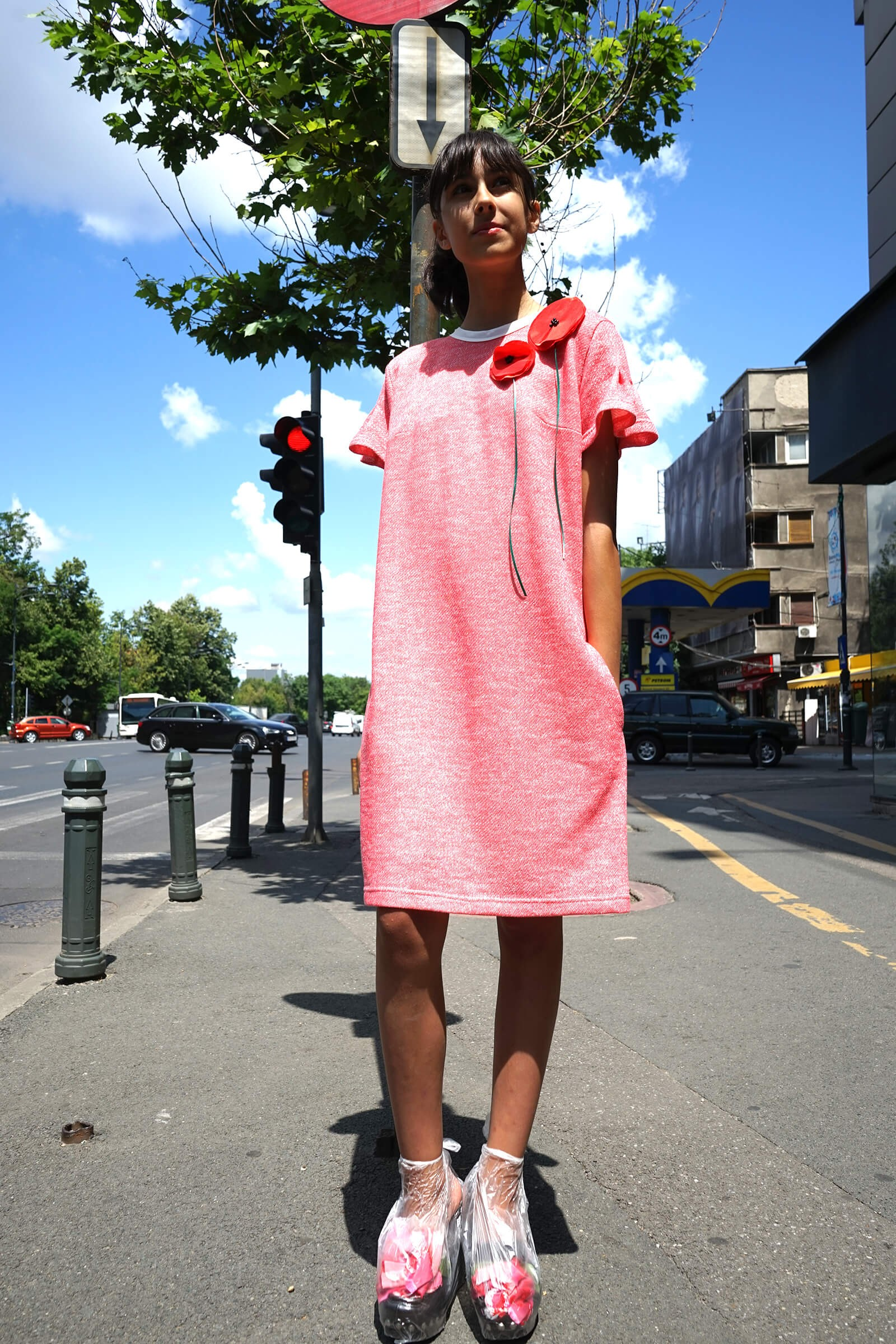 Rochie roz midi  cu maci...