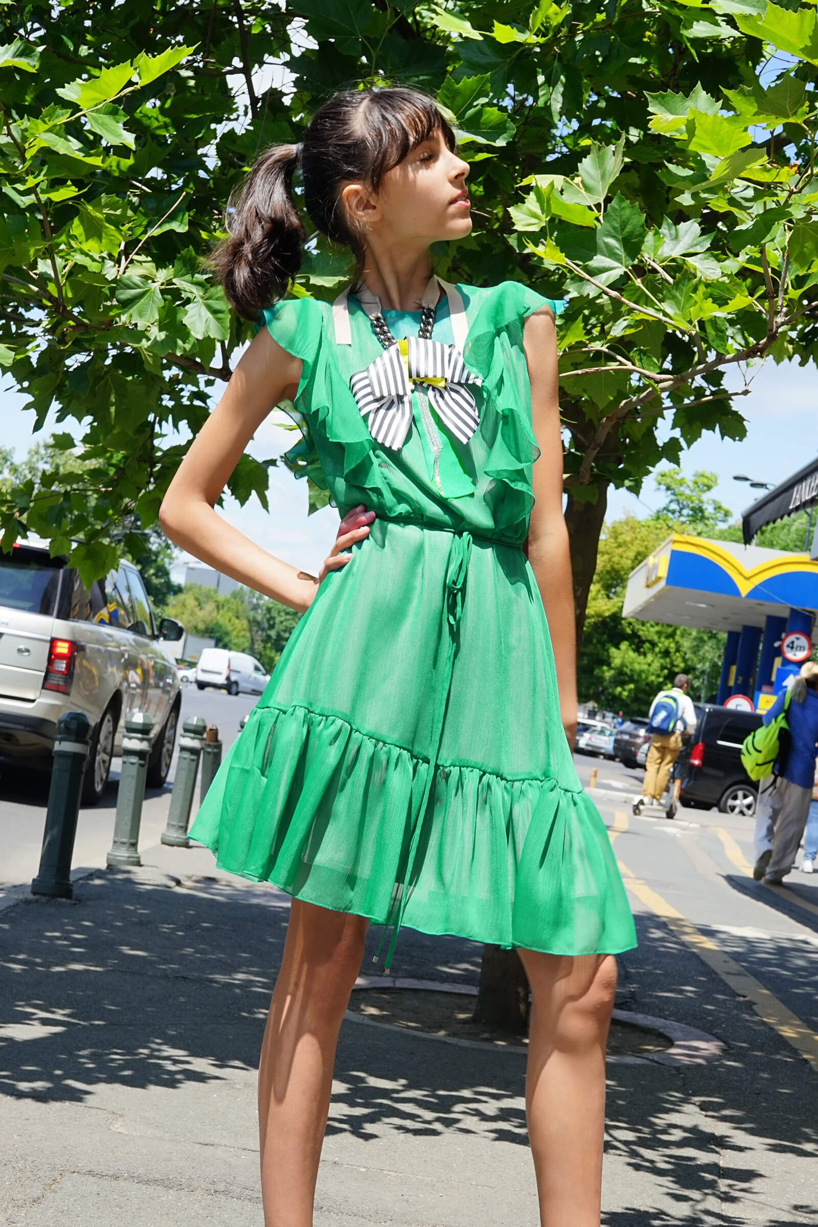 Rochie  verde din voal cu...