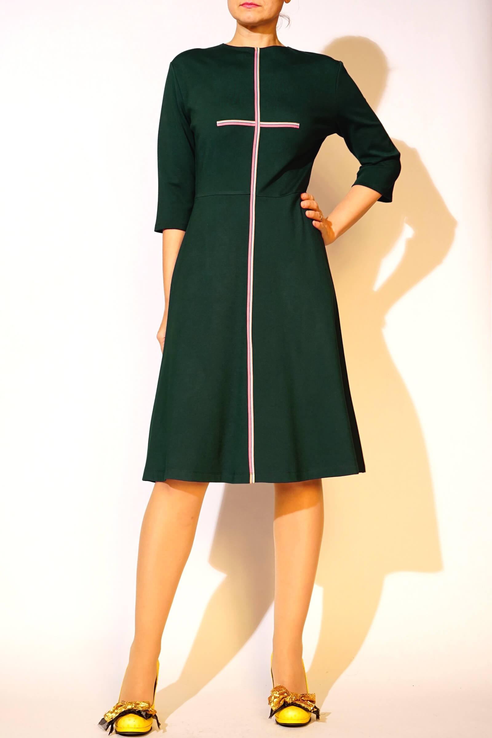 Rochie verde cu bentita pe...