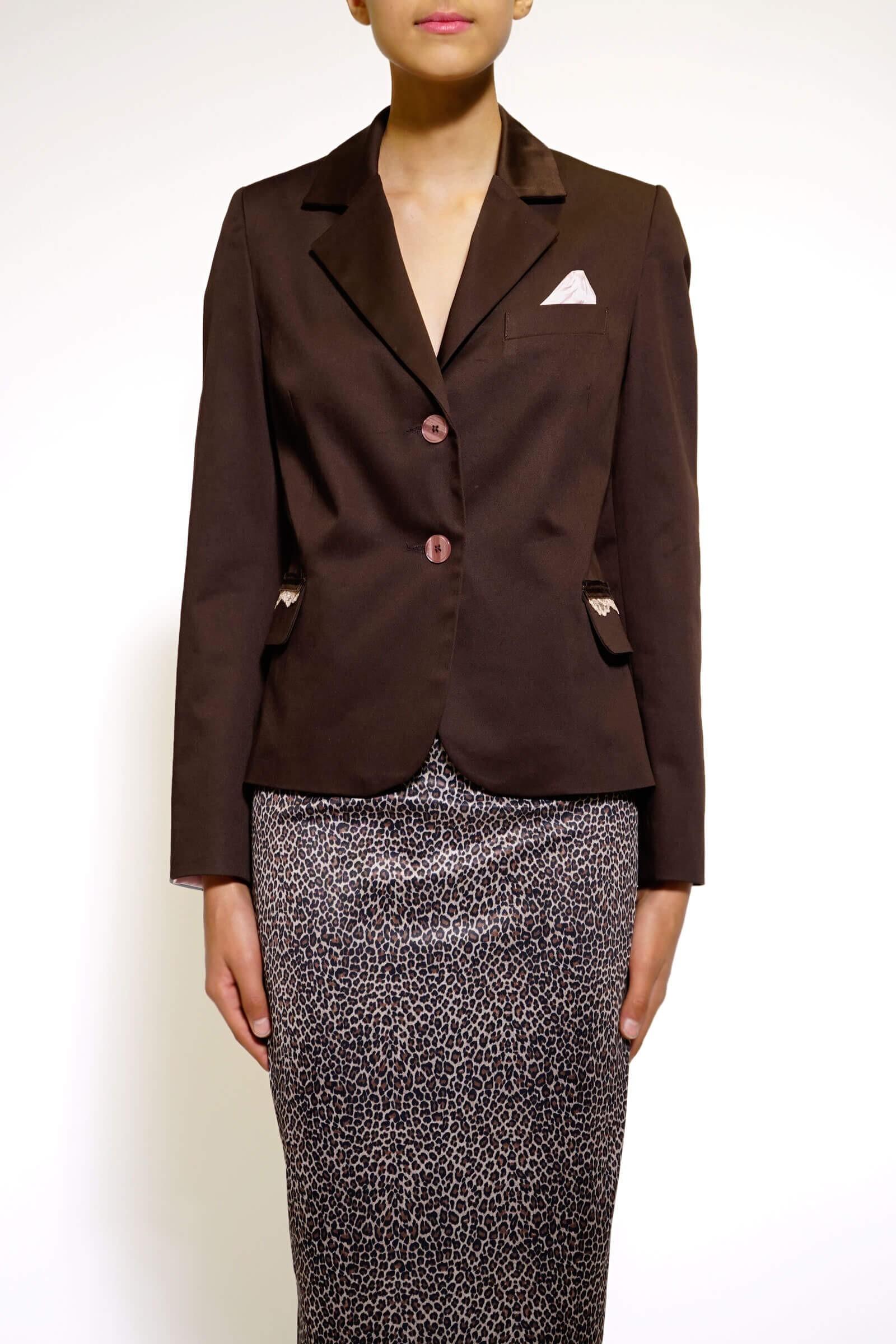 Brown straight blazer
