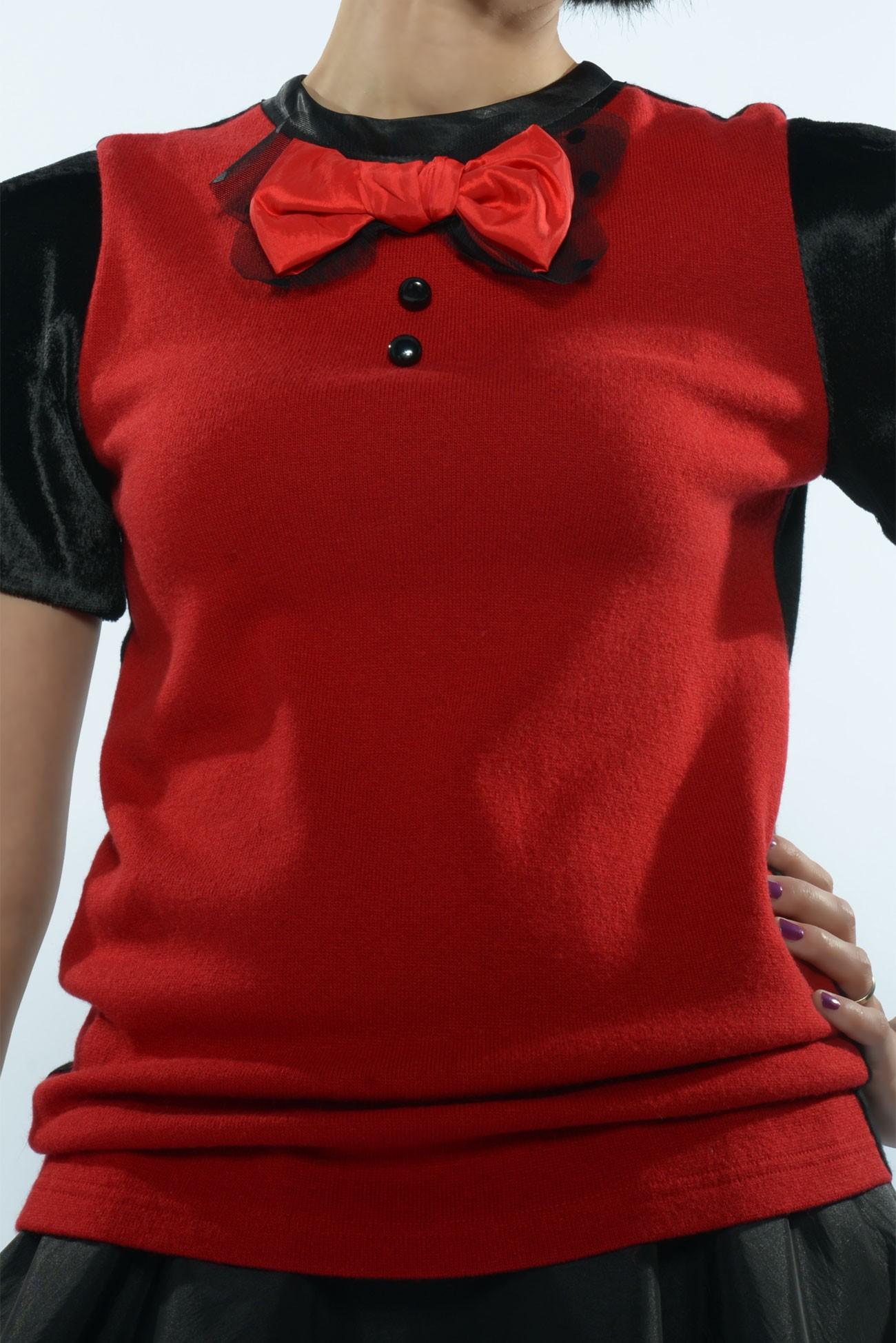 Bluza rosie maneca scurta cu fundita
