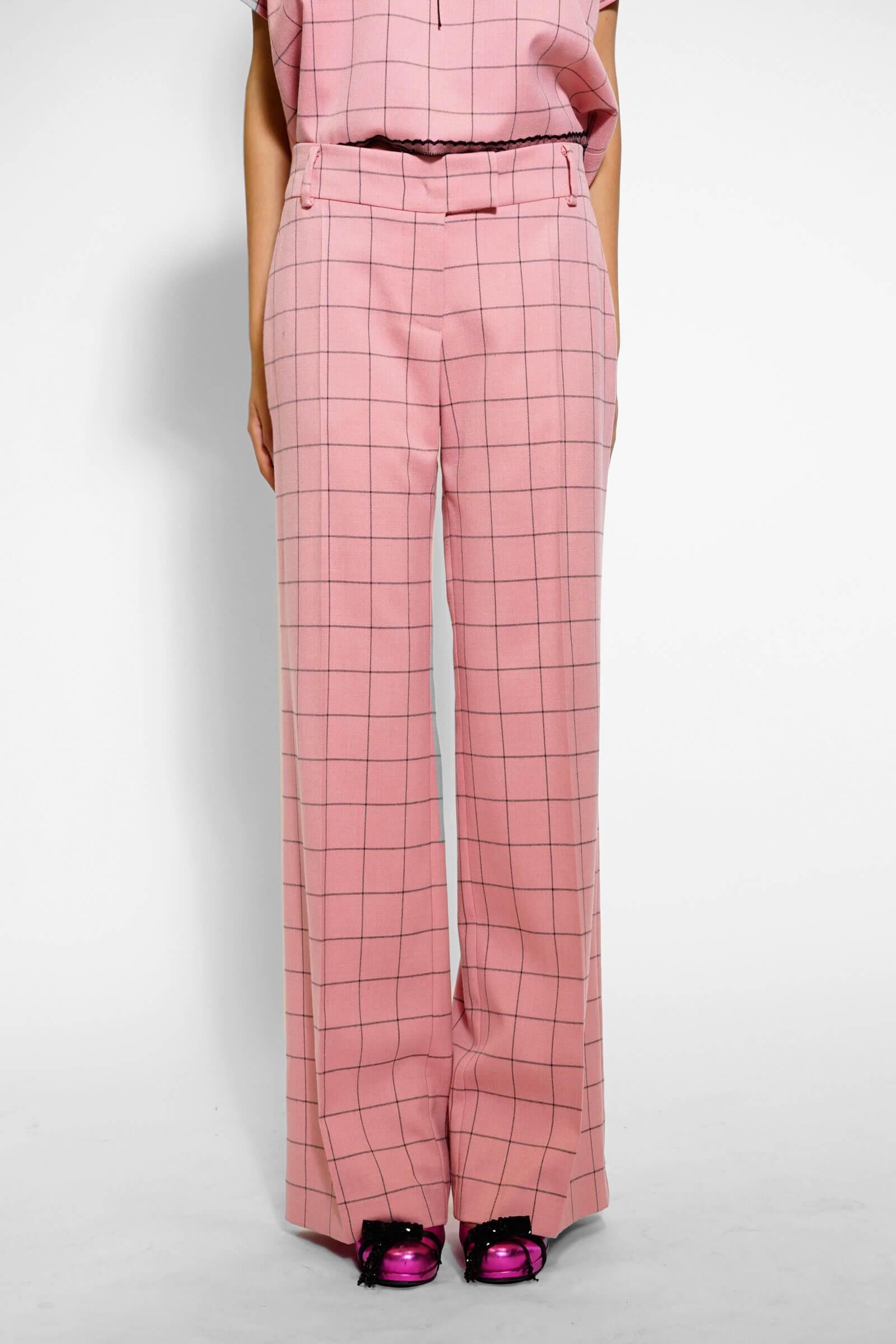 Pink checkered wide leg pants