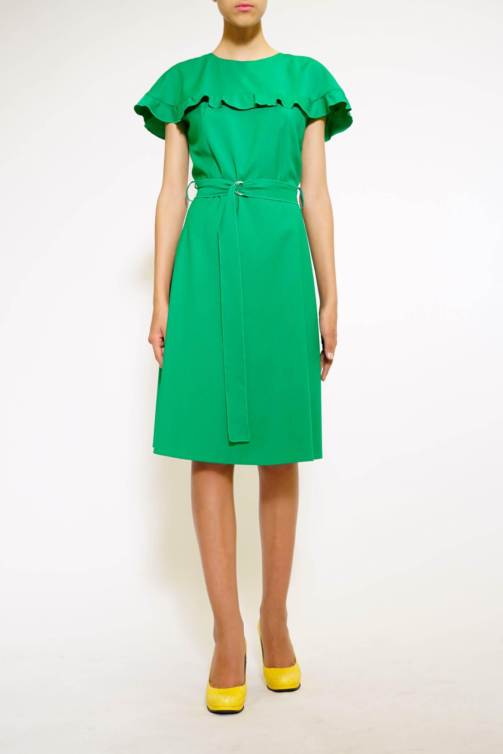 Rochie verde chimono cu volan