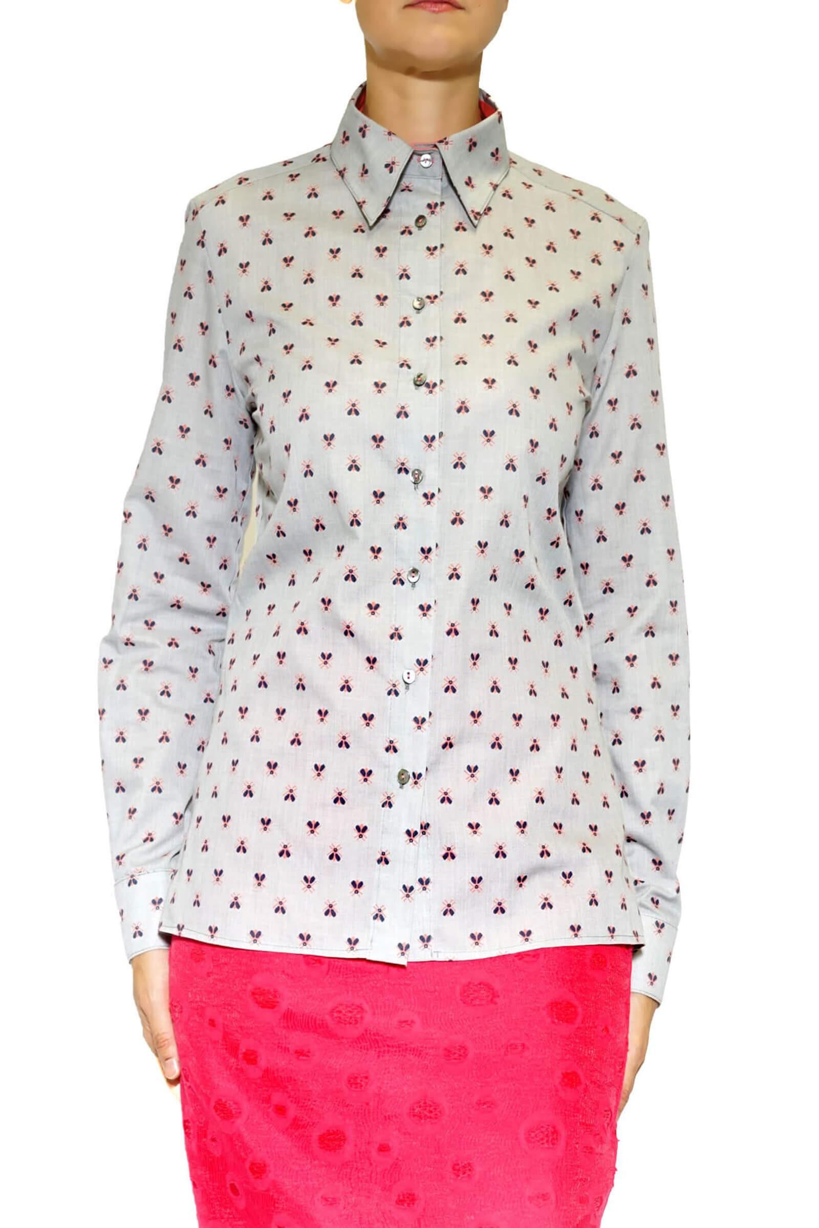 camasa gri cu albinute