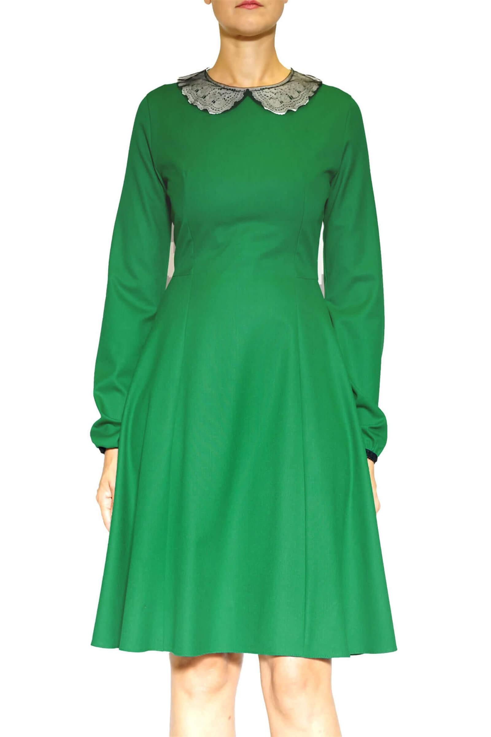 Rochie verde  cu guler
