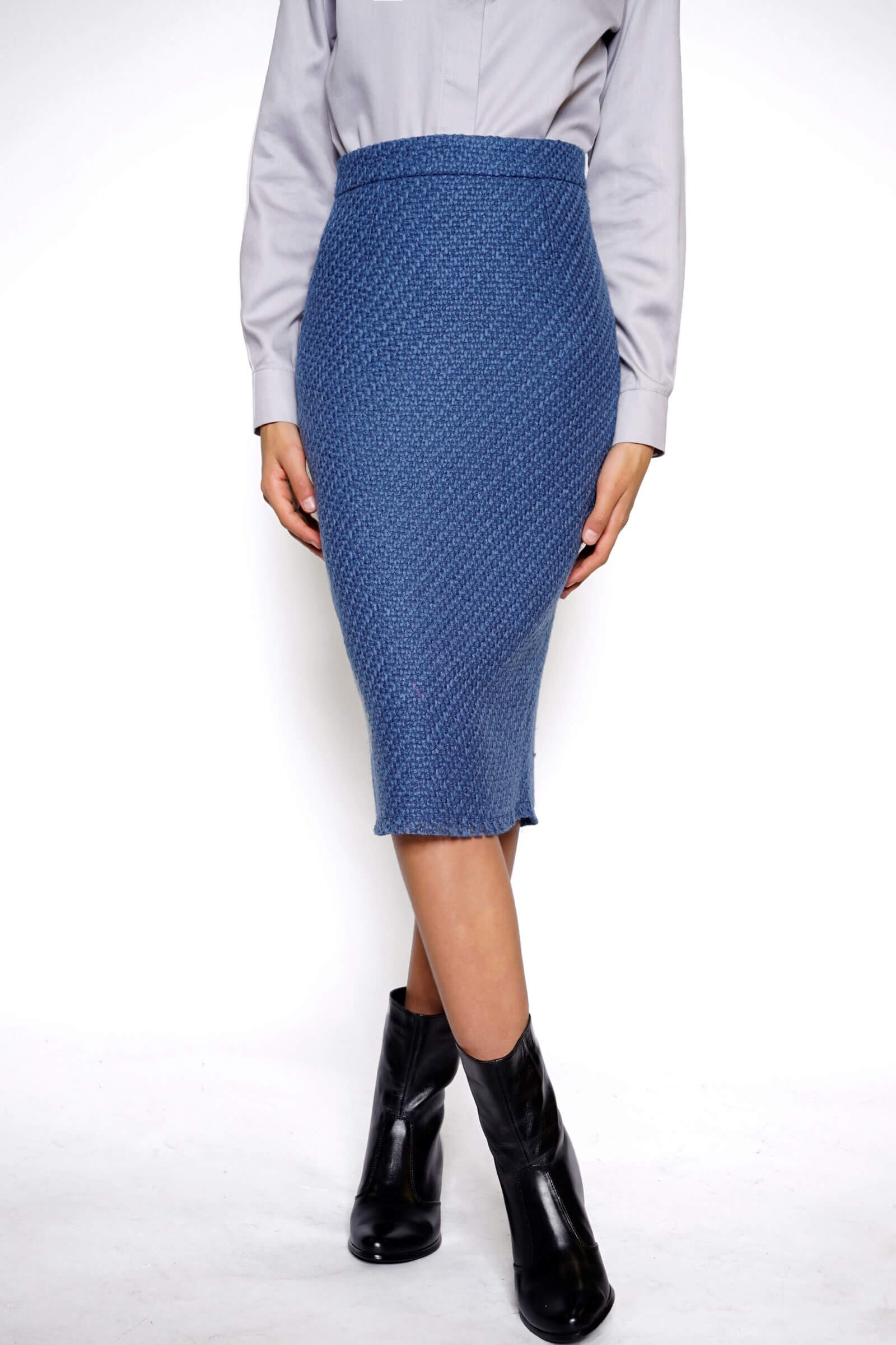 Blue conical wool skirt