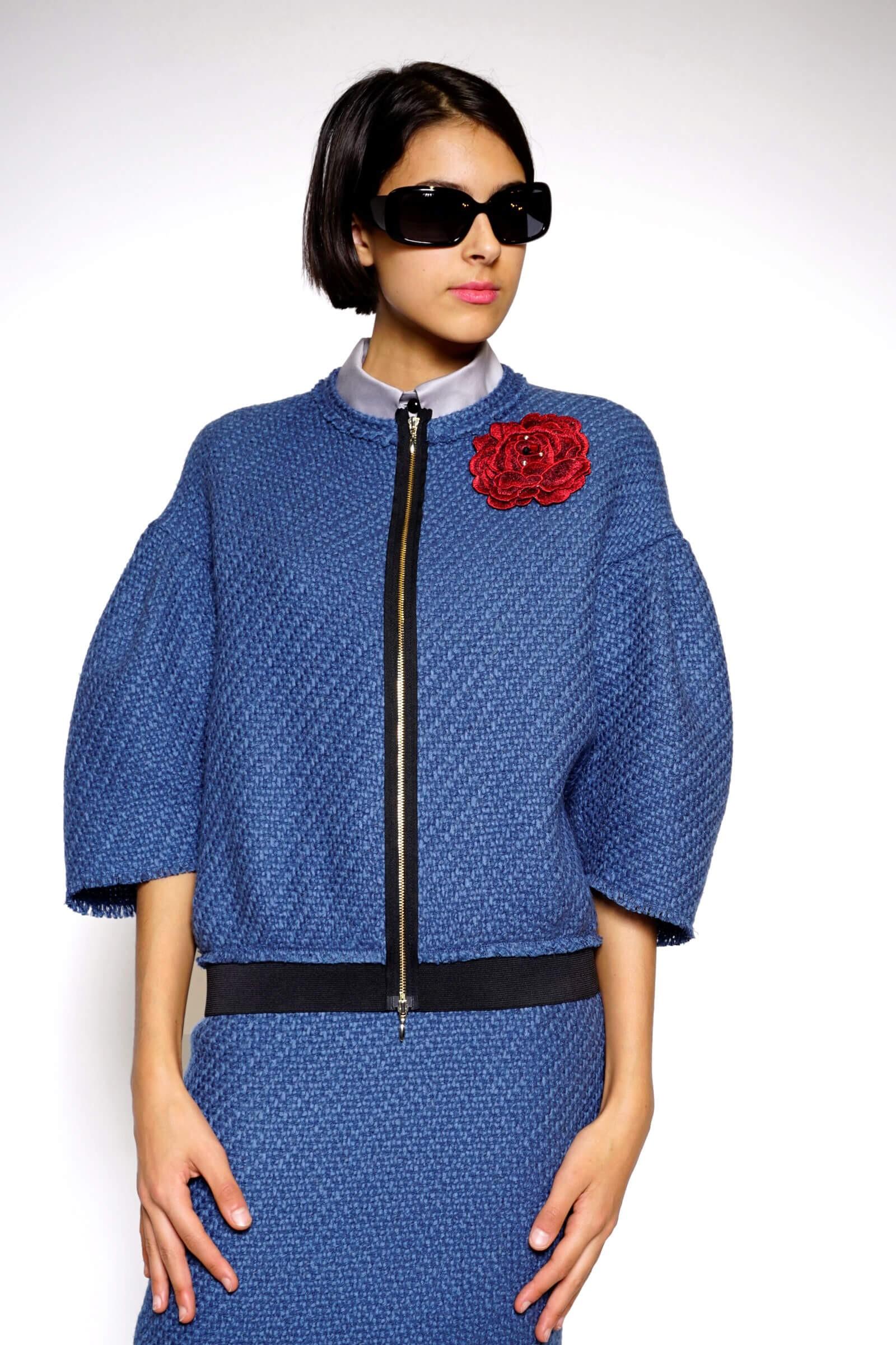 Blue wool chanel type jacket